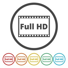 Set of six isolated flat colorful buttons for FULL HD sign