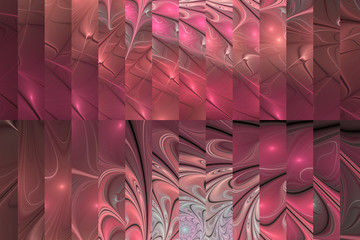 Abstract fractal design in red, beige, rose and grey colors.