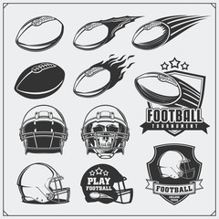 Soccer Football labels, emblems and design elements. Balls and helmets. Vector set. Monochrome design.