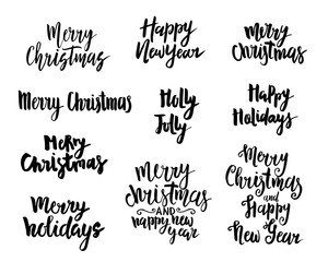 Merry Christmas, Happy New Year, Happy Holidays Hand Drawn Lettering Design Set.