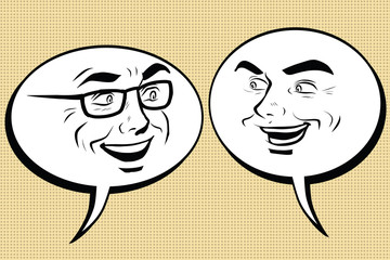 Two happy men talking. Comic bubble smiley face