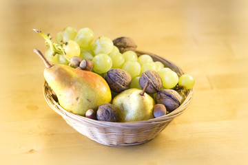 Ripe fruit pear and grapes