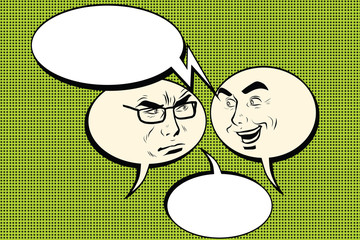 Two men joyful and angry. Comic bubble smiley face