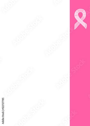 Pink Ribbon Side Vertical Border International Symbol Of Breast