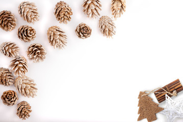 Christmas mockup desktop, pine cones on a white background, overlay your business message, design or quote. Great for small businesses, lifestyle bloggers and social media campaigns.