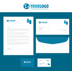 corporate stationery template design with green square elements
