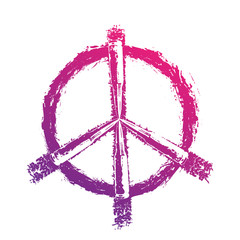 Peace sign with bullets, t-shirt print, violet on white