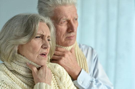 Portrait of sick  elderly couple