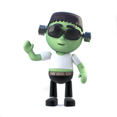 3d Child frankenstein monster waves hello