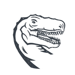 Tyrannosaurus Rex, head of T. rex outline isolated on white, grunge texture can be removed, vector illustration