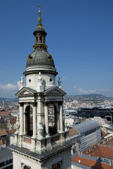Panorama from Saint Stephen Basilica with Hungarian Parliament in Budapest