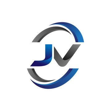 Simple Modern Initial Logo Vector Circle Swoosh jv