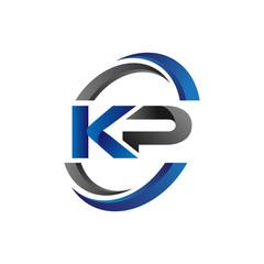 Simple Modern Initial Logo Vector Circle Swoosh kp