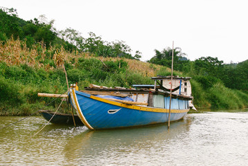 BoatS along Thu Bon River in Quang Nam Province, central Vietnam.