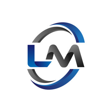 Simple Modern Initial Logo Vector Circle Swoosh lm