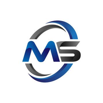 Simple Modern Initial Logo Vector Circle Swoosh ms