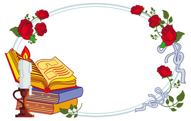 Color frame with red roses, books and lighted candle. Copy space.Vector clip art.
