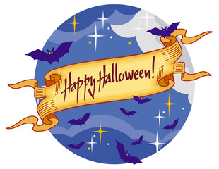 "Round emblem with flying bats and banner with artistic written text:""Happy Halloween!"". Original background for greeting cards, invitations, prints.Vector clip art."