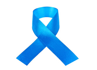 Awareness blue ribbon isolated on white background