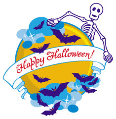 "Round emblem with bats, skeleton, moon and banner with artistic written text:""Happy Halloween!"". Original background for greeting cards, invitations, prints.Vector clip art."