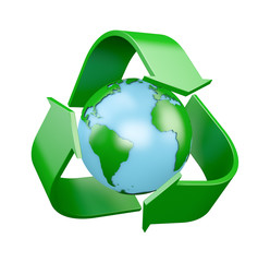 Recycling logo with globe