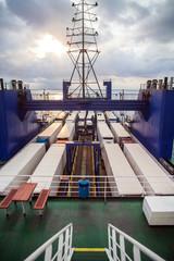 Trucks on ferry boat