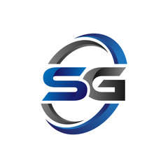 Simple Modern Initial Logo Vector Circle Swoosh sg