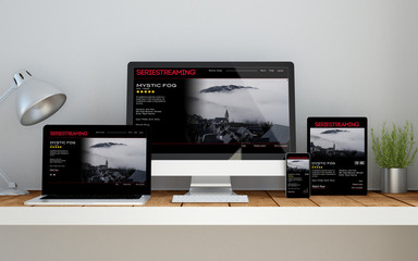 workplace with video streaming online responsive website on devi