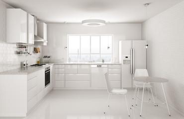 Modern white kitchen interior 3d rendering