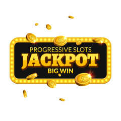 Jackpot casino label background sign. Casino jackpot coins money winner text shining symbol isolated on white