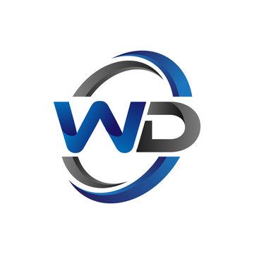 Simple Modern Initial Logo Vector Circle Swoosh wd
