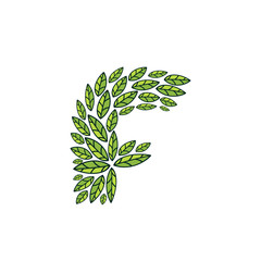 F letter logo formed by vintage pattern, line green leaves.