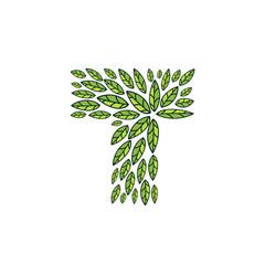 T letter logo formed by vintage pattern, line green leaves.