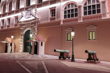 Prince's Palace in Monaco at night