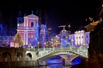Christmas time decorated Ljubljana