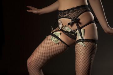 Money, garter, sexy panties and fishnet stockings on dark background