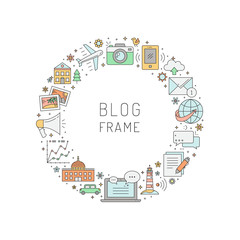 Blog circle vector frame illustration. Simple outline design.