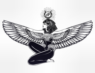 Egyptian godess Isis with outstratched wings.