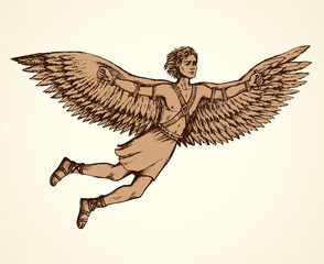 Icarus, character of ancient Greek legend. Vector drawing