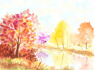 autumn trees and lake watercolor colorful illustration