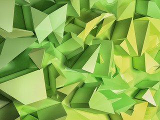 Low poly green and yellow 3d geometric background. Strange abstract background with made of triangle and squares. Square composition with shapes. 3d illustration