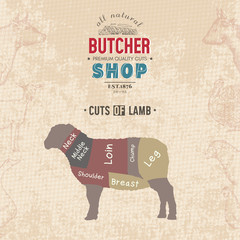 Cuts of lamb. Butcher shop retro poster