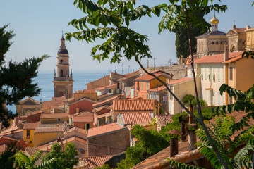 City view of medieval Menton and Basilique Saint Michel, Alpes-Maritimes, Cote d'Azur, Provence, French Riviera, France, Mediterranean, Europe