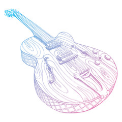 Stylized guitar. Retro . Jazz electric . Musical instrument. Music. Rock. Line art. Drawing by hand. Graphic arts. Tattoo. Doodle.