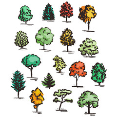 Set of hand drawn colorful trees. Ink style.