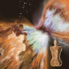 femme assise vue de dos face à une nébuleuse en explosion dont le dos se décompose en polyscape. 3 silhouettes de celle-ci se déclinent en polyscape.