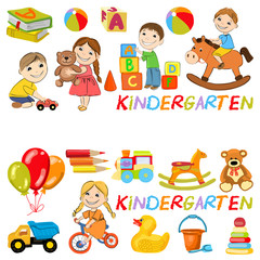 Vector kindergarten pattern with boys and girls