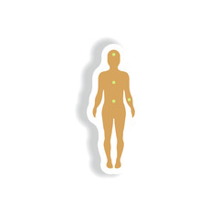 Vector paper sticker various symptoms of leukemia on the human