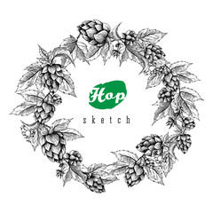 Beer hops round frame hand drawn hops branches with leaves, cones and hops flowers, black and white, sketch and engraving design hops plants.