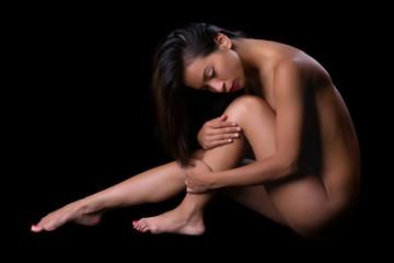Implied nude pose